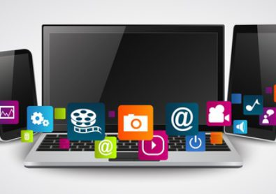 Tablet computer and mobile phones with colorful application icon